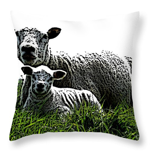 Mother Throw Pillow featuring the mixed media Motherly Love by Steve K