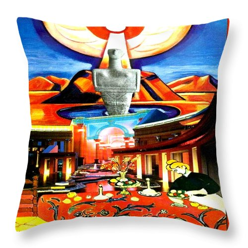 Square Throw Pillow featuring the digital art Mother's House by Eikoni Images