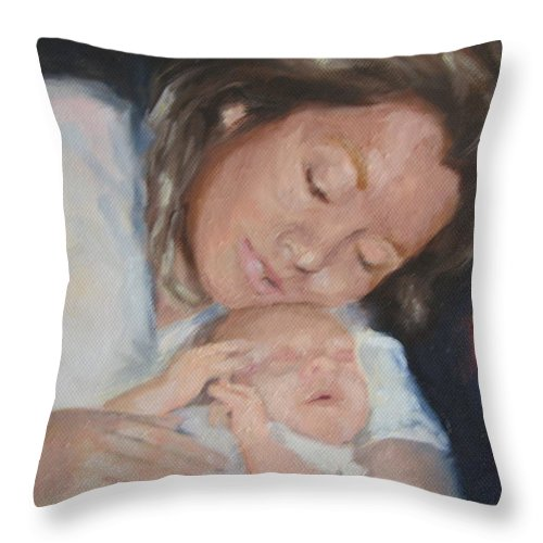 Mother Throw Pillow featuring the painting Mother's Love by Carol Mueller
