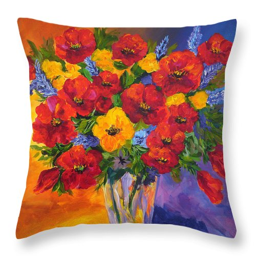 Red Flowers Purple Vase Throw Pillow featuring the painting Mothers Spring Flowers by Mary Jo Zorad