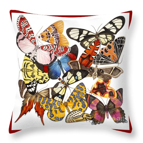 Moths Throw Pillow featuring the painting Moths and More Moths by Lucy Arnold