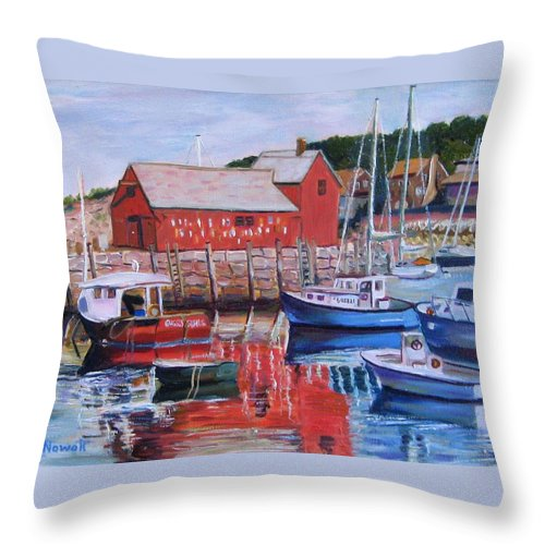 Rockport Throw Pillow featuring the painting Motif Number One by Richard Nowak