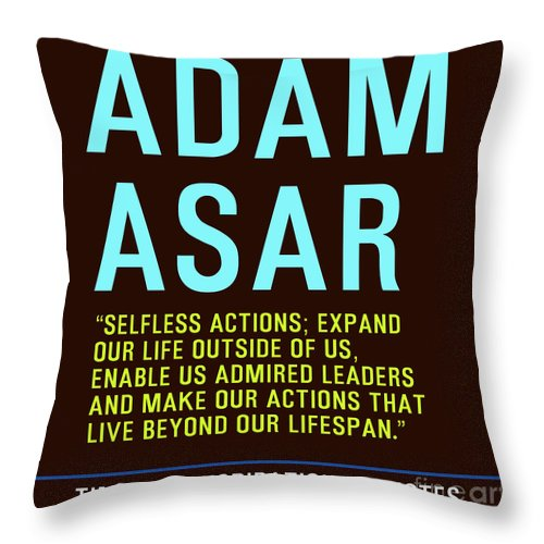 Motivational Quotes - Adam Asar Throw Pillow featuring the painting Motivational Quotes - Adam Asar by Celestial Images