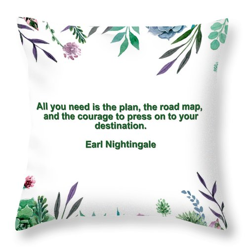 Adam Asar Throw Pillow featuring the painting Motivational Quotes - All You Need Is The Plan by Celestial Images