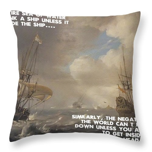 Motivational Quotes - Defiance Throw Pillow featuring the painting Motivational Quotes - Defiance by Celestial Images