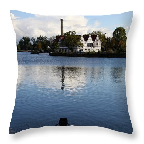Motława River Throw Pillow featuring the photograph Motlawa River Gdansk by Christiane Schulze Art And Photography