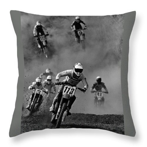 Motocross Throw Pillow featuring the photograph Motocross Racing by Steve Somerville