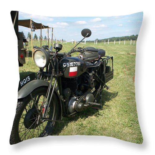 Automotive Throw Pillow featuring the painting Motorcycle by Eric Schiabor