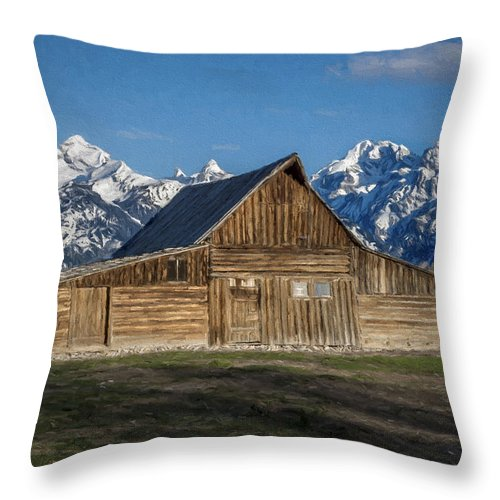 Grand Teton National Park Throw Pillow featuring the photograph Moulton Barn by Lou Novick