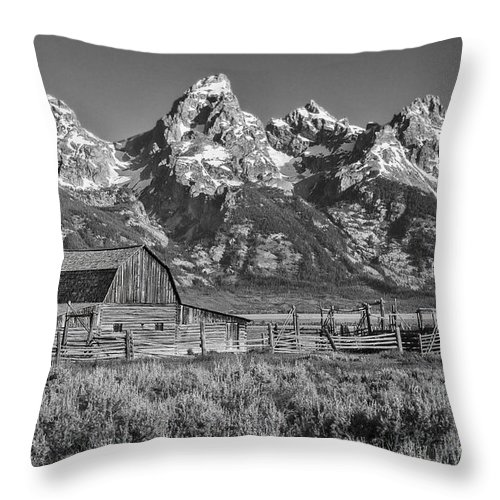 Grand Teton Throw Pillow featuring the photograph Moulton Cabin - Grand Tetons II by Sandra Bronstein
