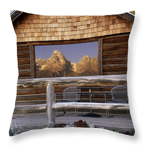 Late Snow Throw Pillow featuring the photograph Moulton Ranch Cabin Reflection Grand Tetons by Gary Langley