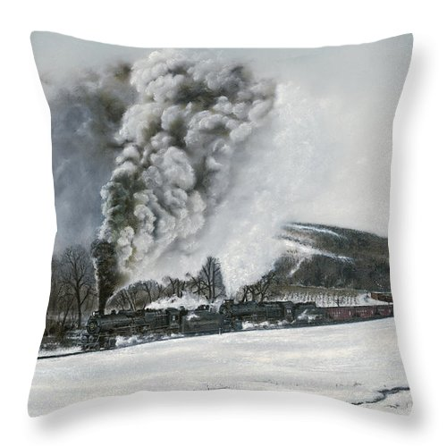 Trains Throw Pillow featuring the painting Mount Carmel Eruption by David Mittner