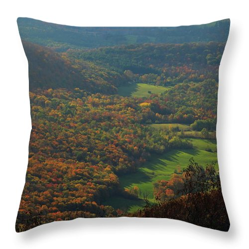 Mount Greylock Throw Pillow featuring the photograph Mount Greylock Foliage View by John Burk