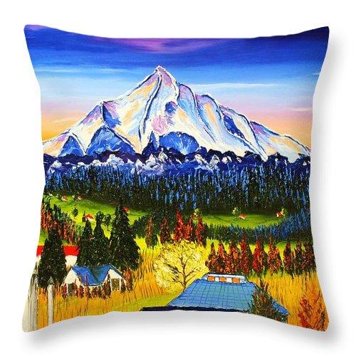 Throw Pillow featuring the painting Mount Hood River Valley #1. by Dunbar's Modern Art