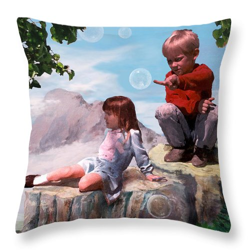 Landscape Throw Pillow featuring the painting Mount Innocence by Steve Karol