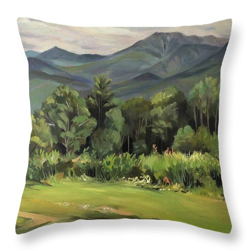 White Mountain Paintngs Throw Pillow featuring the painting Mount Lafayette From Sugar Hill New Hampshire by Nancy Griswold
