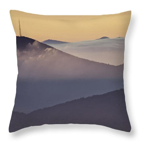Parkway Throw Pillow featuring the photograph Mount Pisgah In Morning Light - Blue Ridge Mountains by Rob Travis