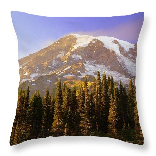 Mt. Raineer Throw Pillow featuring the photograph Mount Raineer 2 by Marty Koch