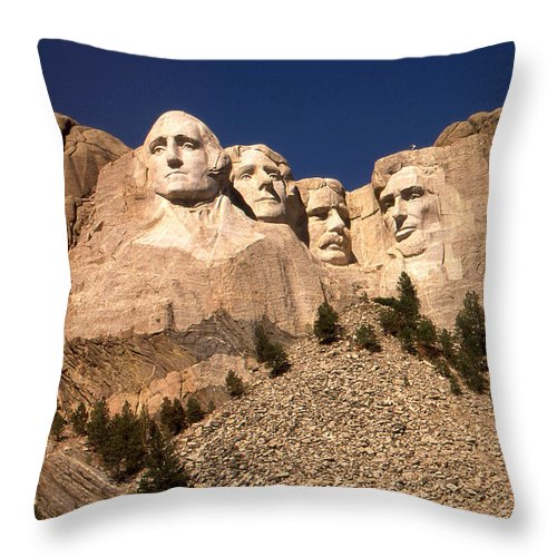 Mount+rushmore Throw Pillow featuring the photograph Mount Rushmore National Monument South Dakota by Peter Potter