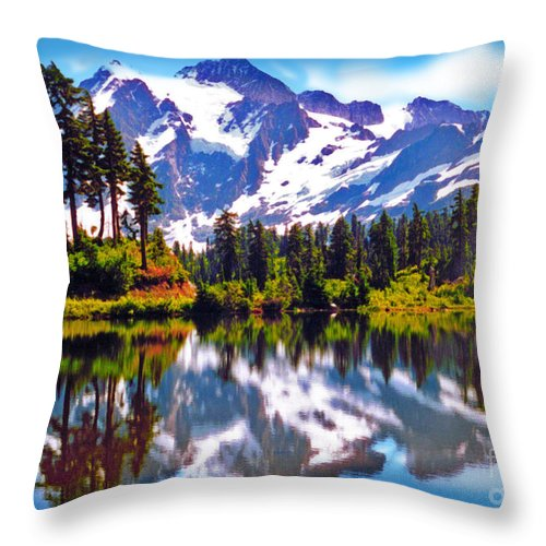 Mt. Shuksan Throw Pillow featuring the photograph Mount Shuksan Washington by Laura Brightwood