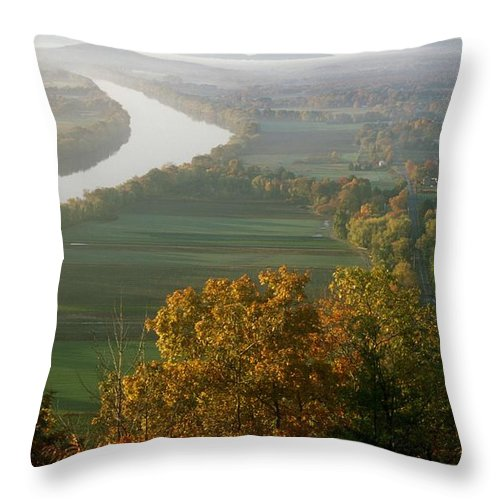 Mount Sugarloaf Throw Pillow featuring the photograph Mount Sugarloaf Autumn Morning by John Burk