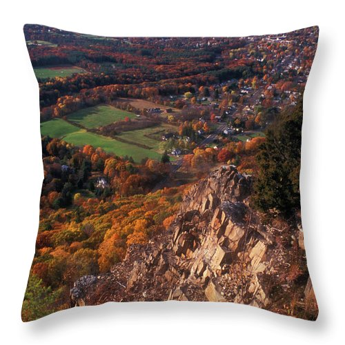 Mount Tom Throw Pillow featuring the photograph Mount Tom Ridge Autumn View by John Burk