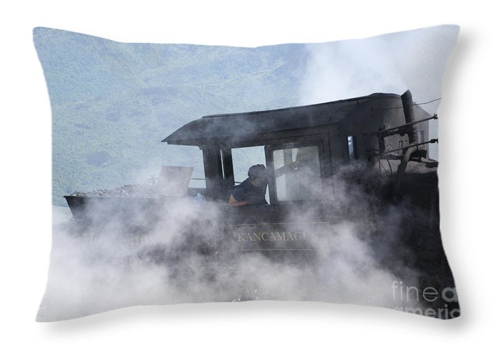 Hike Throw Pillow featuring the photograph Mount Washington Cog Railroad - New Hampshire Usa by Erin Paul Donovan
