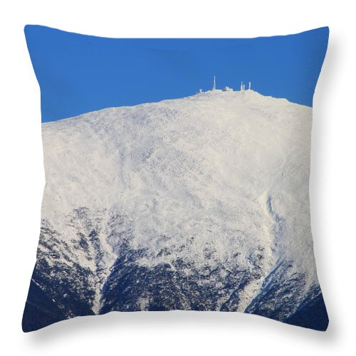 mount Washington new Hampshire white Mountains presidential Range mount Washington Weather Observatory appalachian Trail Mountain Nature Winter Throw Pillow featuring the photograph Mount Washington Summit And Weather Observatory by John Burk