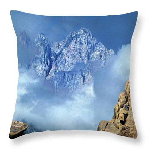 North America Throw Pillow featuring the photograph Mount Whitney Clearing Storm Eastern Sierras California by Dave Welling