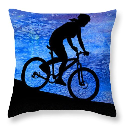 Bikers Throw Pillow featuring the digital art Mountain Bikers At Dusk by Jenny Armitage