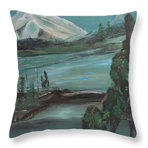 Mountains Throw Pillow featuring the painting Mountain Cat by Susan Voidets