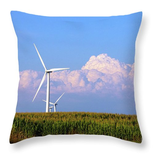 Art Throw Pillow featuring the photograph Mountain Clouds And Windmills by Alan Look