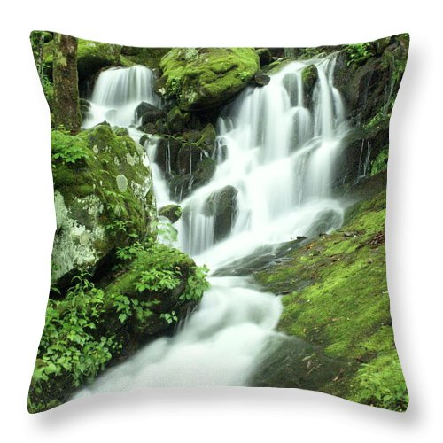 Waterfalls Throw Pillow featuring the photograph Mountain Falls by Marty Koch