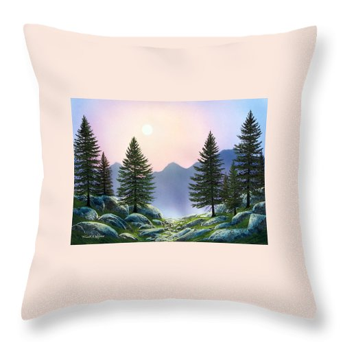 Landscape Throw Pillow featuring the painting Mountain Firs by Frank Wilson