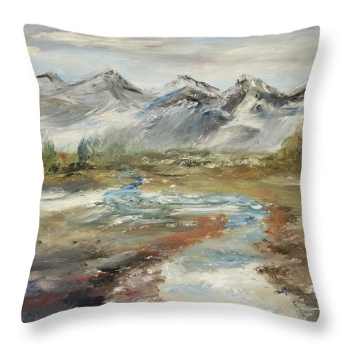 Landscape Throw Pillow featuring the painting Mountain Fresh Water by Edward Wolverton