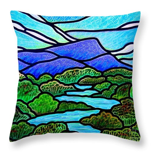 Paintings Throw Pillow featuring the painting Mountain Glory by Jim Harris