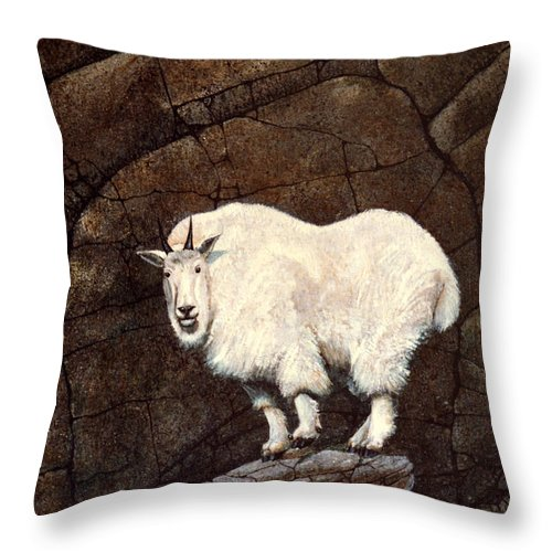 Wildlife Throw Pillow featuring the painting Mountain Goat by Frank Wilson