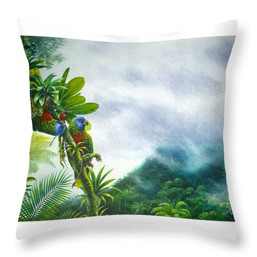 Chris Cox Throw Pillow featuring the painting Mountain High - St. Lucia Parrots by Christopher Cox