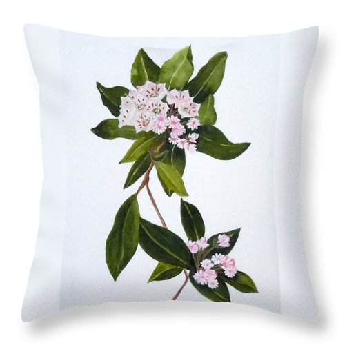 Mountain Laurel Throw Pillow featuring the painting Mountain Laurel by Jean Blackmer