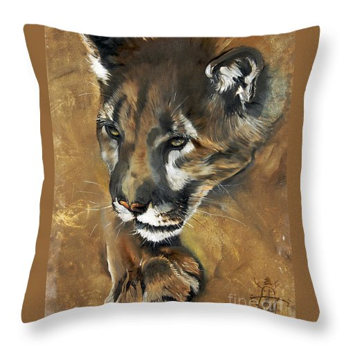 Southwest Art Throw Pillow featuring the painting Mountain Lion - Guardian Of The North by J W Baker