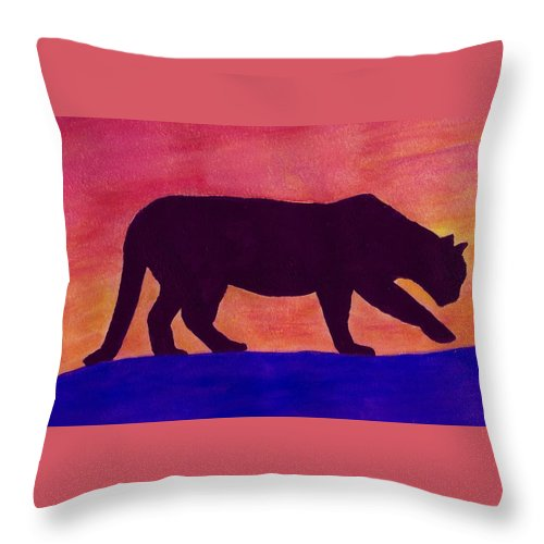 mountain Lion Throw Pillow featuring the painting Mountain Lion Silhouette by Michael Vigliotti