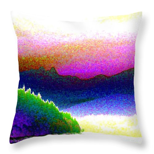 The Lions Throw Pillow featuring the digital art Mountain Lions by Will Borden