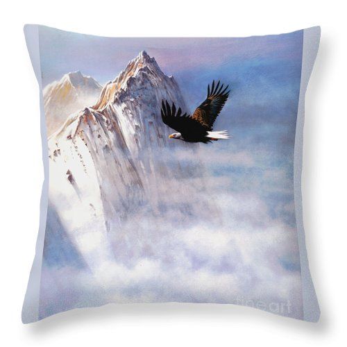 Eagle Throw Pillow featuring the painting Mountain Majesty by Robert Foster