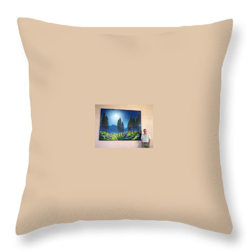 Mural Throw Pillow featuring the painting Mountain Moonglow Mural Winner Of The 2005 Coba Peoples Choice Award by Frank Wilson