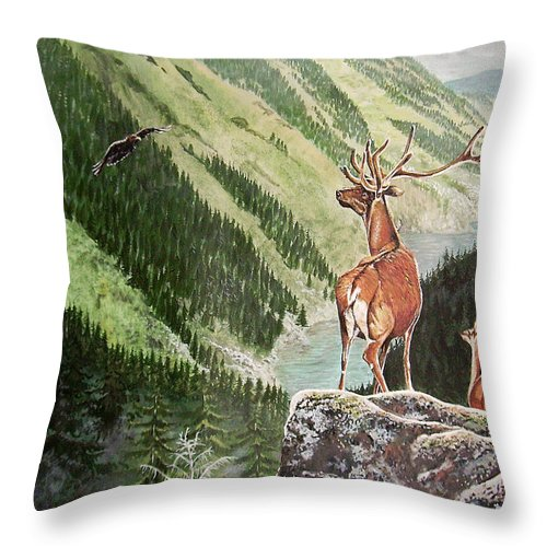 Deer Throw Pillow featuring the painting Mountain Morning by Arie Van der Wijst