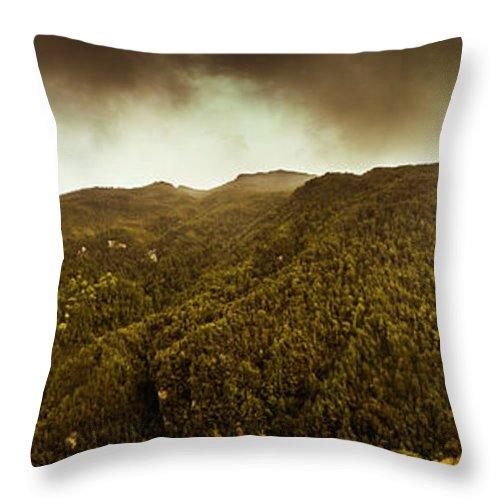 Tasmania Throw Pillow featuring the photograph Mountain Of Trees by Jorgo Photography - Wall Art Gallery