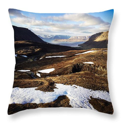 Iceland Throw Pillow featuring the photograph Mountain pass in Iceland by Matthias Hauser