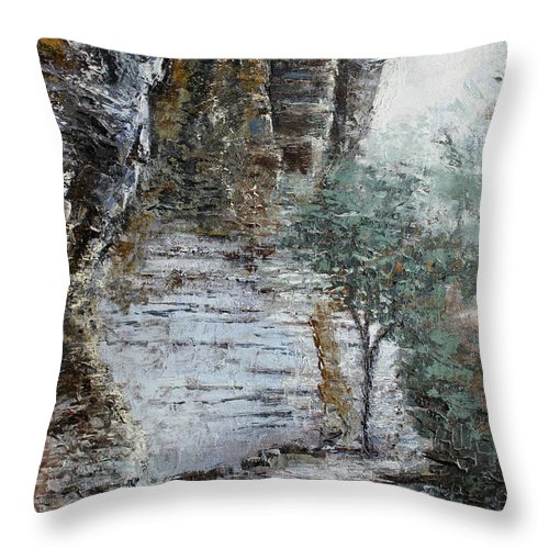 Landscape Throw Pillow featuring the painting Mountain Pass by Todd Blanchard