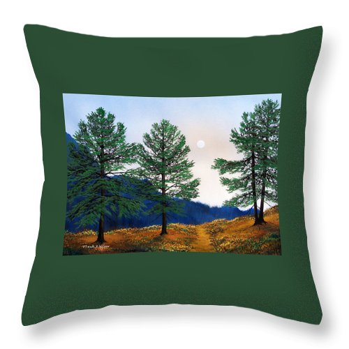 Throw Pillow featuring the painting Mountain Pines by Frank Wilson