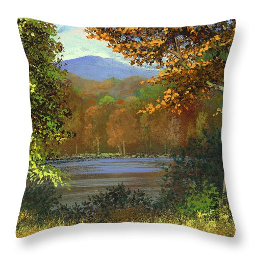 Landscape Throw Pillow featuring the painting Mountain Pond by Frank Wilson
